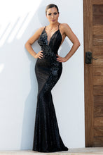 Load image into Gallery viewer, Allison Sequins Painted Black Platinum Long Dress. Miami Gowns Design - BACCIO Couture