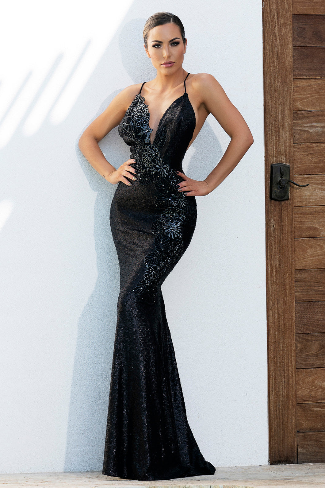 Allison Sequins Painted Black Platinum Long Dress. Miami Gowns Design - BACCIO Couture