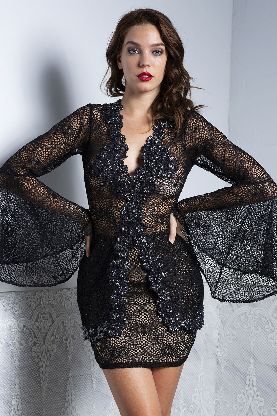 Ambar Black Lace Top and Skirt Set - BACCIO Couture
