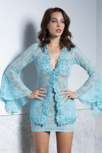 Load image into Gallery viewer, Ambar Aqua Lace Top and Skirt Set. Cocktail Dress Set - BACCIO Couture