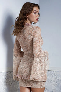 Ambar Nude Lace Top and Skirt Set. Short Dresses - BACCIO Couture