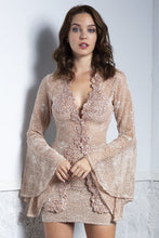 Load image into Gallery viewer, Ambar Nude Lace Top and Skirt Set. Short Dresses - BACCIO Couture