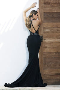 Andrea Painted Black Platinum Long Dress. Dresses near miami. Party dresses for sale. Handmade shape long dresses cocktail event. Cocktail party long dresses for woman. Latest Miami fashion long dresses and gowns for sale.