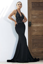 Load image into Gallery viewer, Andrea Painted Black Platinum Long Dress - BACCIO Couture
