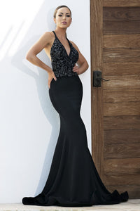 Andrea Painted Black Platinum Long Dress - BACCIO Couture