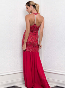 Abby Red Cocktail Long Dress - Gowns