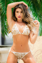 Load image into Gallery viewer, Adriana Bikini Lace White Champagne Swimwear - BACCIO Couture