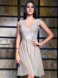 Ariel Painted Silver Short Cocktail Dress - Prom Dress - BACCIO Couture