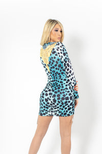 Aisha Spandex Turquoise Leopard with Silver Crystals Cocktail Dress - BACCIO Couture