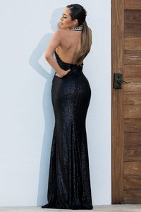 Alba Metallic Black Handpainted Long Dress - Miami Gowns Design - BACCIO Couture