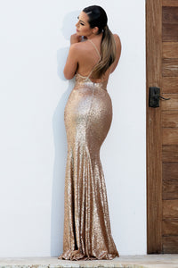 Alison Handpainted Gold Sequins Gowns - Long Dress - BACCIO Couture