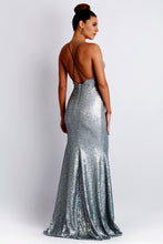 Load image into Gallery viewer, Alison Sequin Silver Long Dress. Gowns - BACCIO Couture