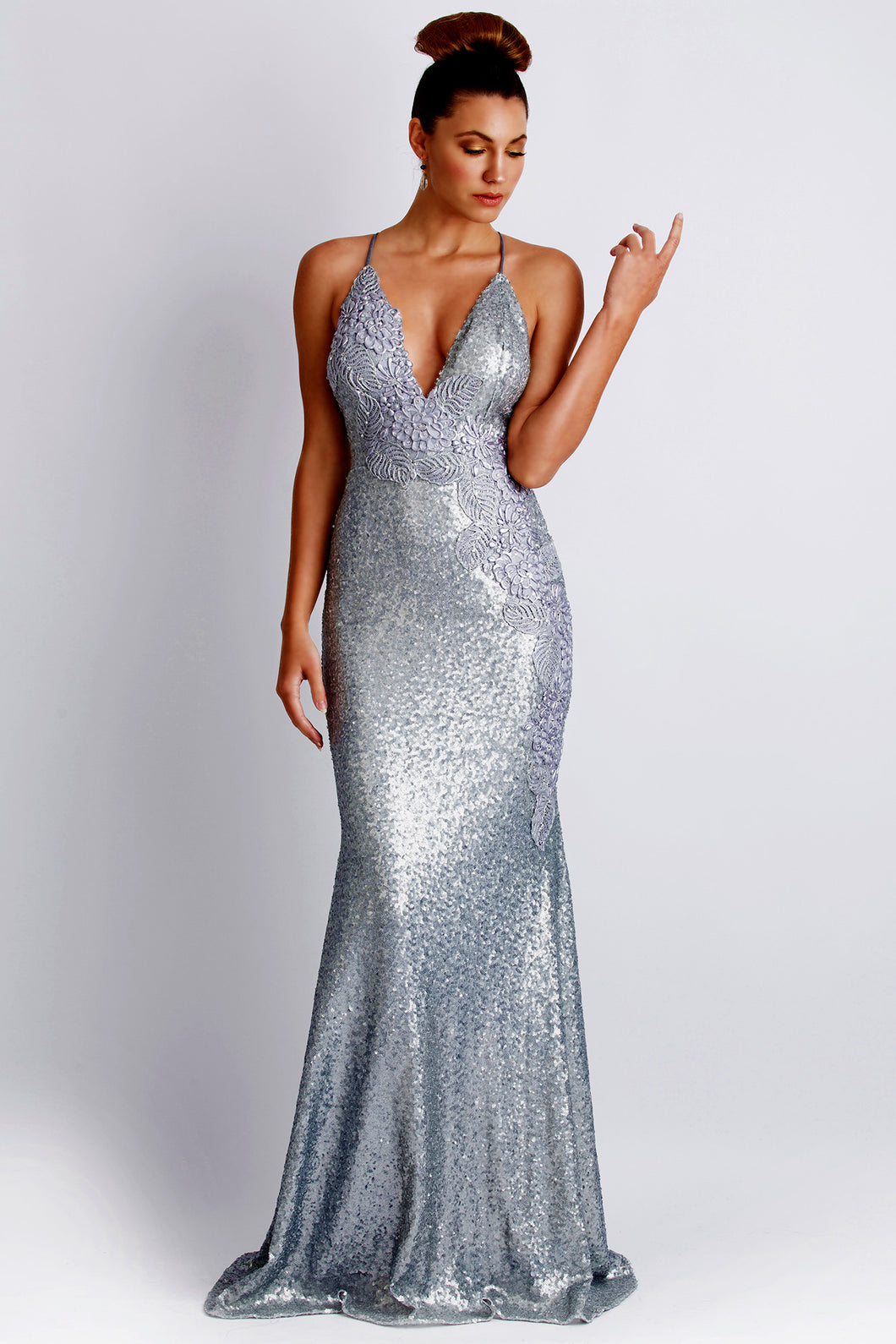 Alison Sequin Silver Long Dress. Gowns - BACCIO Couture