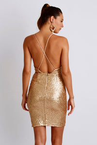 Alison Sequin Painted Gold Cocktail Dress. Short Party Prom Dress - BACCIO Couture
