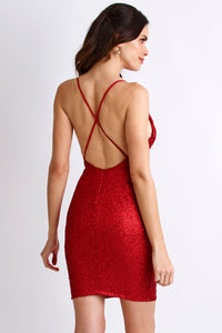 Alison Sequin Painted Red Cocktail Dress. Short Party Prom Dress - BACCIO Couture