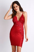 Load image into Gallery viewer, Alison Sequin Painted Red Cocktail Dress. Short Party Prom Dress - BACCIO Couture
