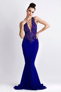 Alitze Purple Jersey  Gowns - Long Dress - BACCIO Couture