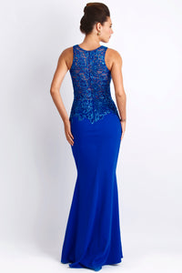 Alitze Navy Blue Jersey Gowns - Long Dress - BACCIO Couture