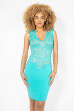 Load image into Gallery viewer, Amanda Turquoise Blue with Crystal Cocktail Dress - BACCIO Couture