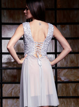 Load image into Gallery viewer, Ariel Painted Silver Short Cocktail Dress - Prom Dress - BACCIO Couture
