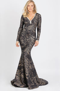 Ashley Glitter Spandex Metallic Jersey Long Dress. Gowns - BACCIO Couture