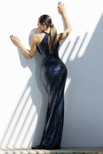 Load image into Gallery viewer, Briani Sequins Metallic Deep Blue Long Dress - BACCIO Couture