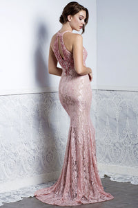 BRITNEY Pink Tie-Neck Gown - BACCIO Couture