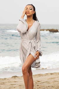 Lizzy Grey Beach Robe - BACCIO Couture