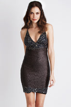 Load image into Gallery viewer, Becky Sequin Painted Black Cocktail Dress. Short Party Prom Dress - BACCIO Couture