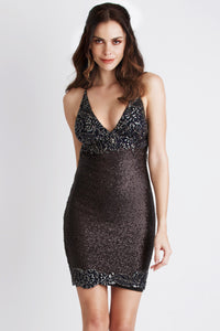 Becky Sequin Painted Black Cocktail Dress. Short Party Prom Dress - BACCIO Couture