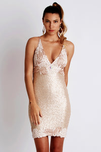 Becky Sequin Painted White Cocktail Dress. Party & Prom Short Dress - BACCIO Couture