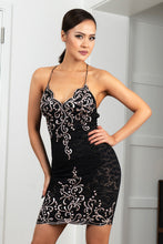 Load image into Gallery viewer, Channy Stretch Lace Black Platinum Short Cocktail Dress - BACCIO Couture