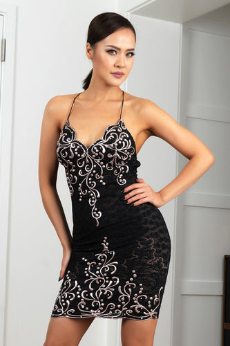 Channy Stretch Lace Black Platinum Short Cocktail Dress - BACCIO Couture