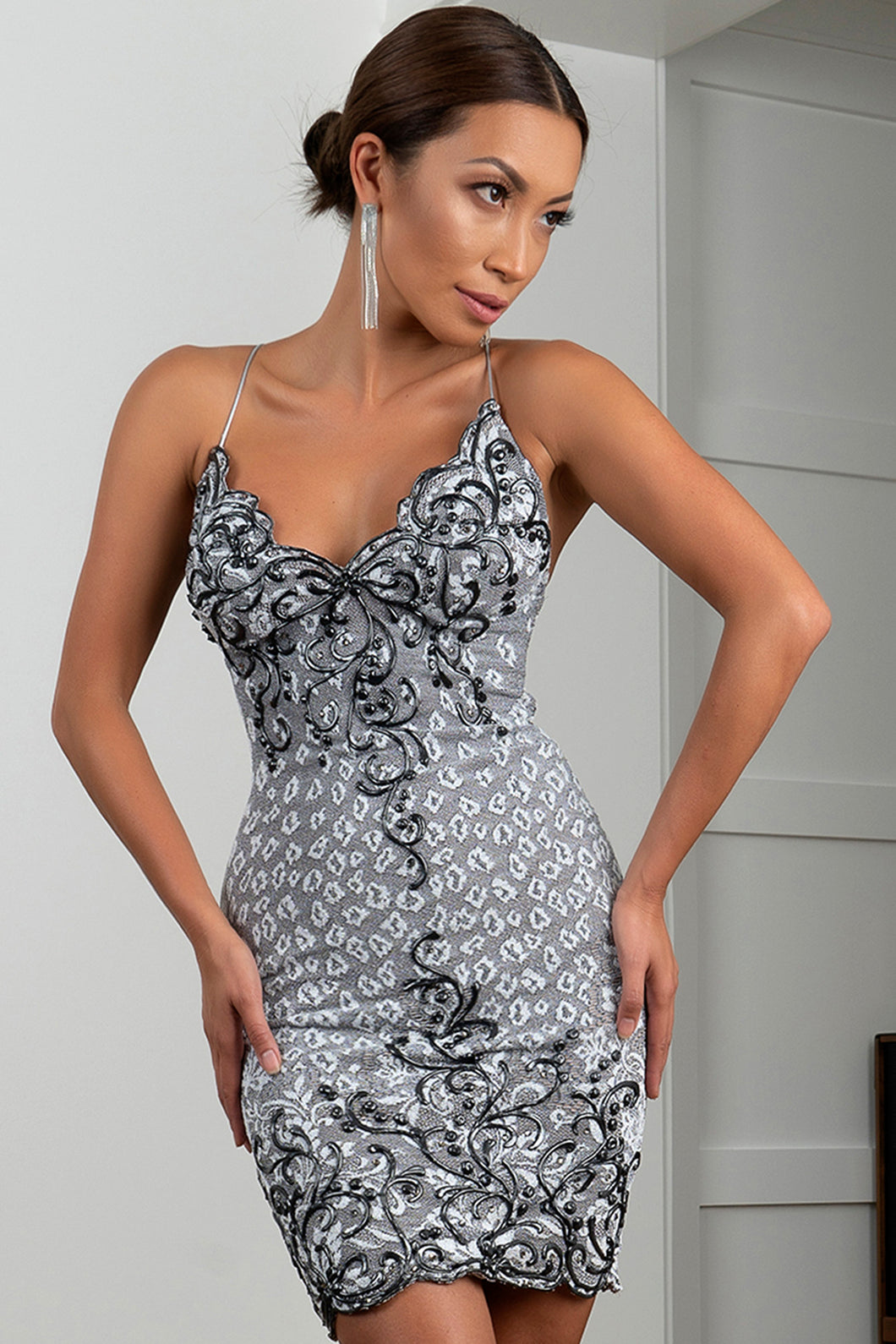Channy Stretch Lace Grey Short Cocktail Dress - BACCIO Couture