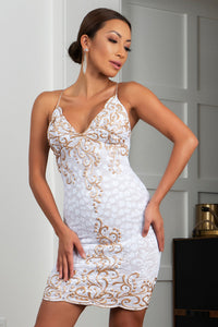 Channy Stretch Lace Cocktail Dress White Gold Color