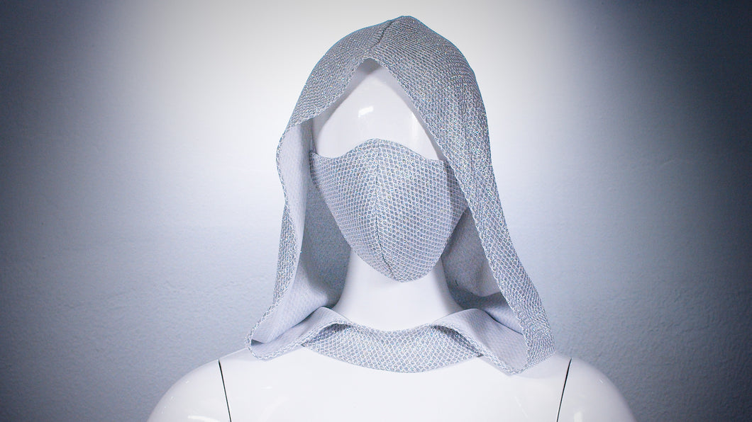 Silver Mesh Hoodie Head Cover Washable and Reusable - BACCIO Couture