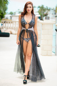 Daniela Black Platinum Sleeveless Cover Up Swimwear - Beachwear - BACCIO Couture