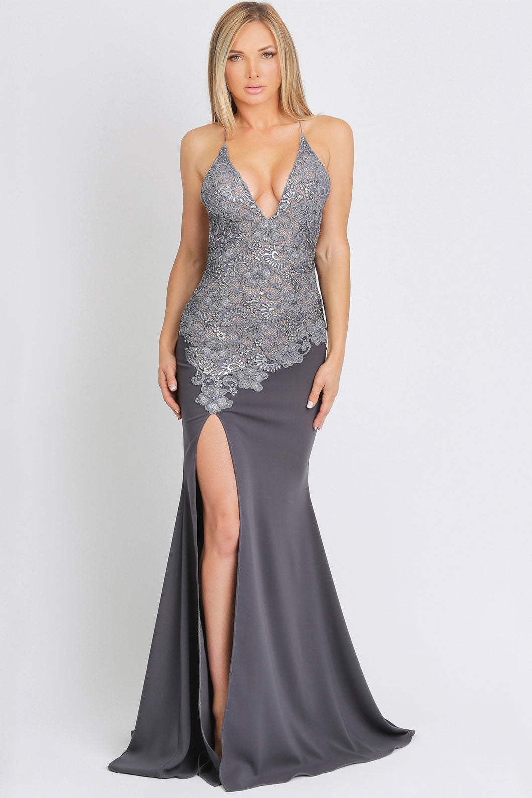 Danna Caviar Jersey Grey Long Party Dress - BACCIO Couture
