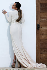 Domenika Ivory Handpainted Long Dress. Gowns - BACCIO Couture