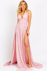 Luli Wrinkle Caviar Pink Long Dress - BACCIO Couture