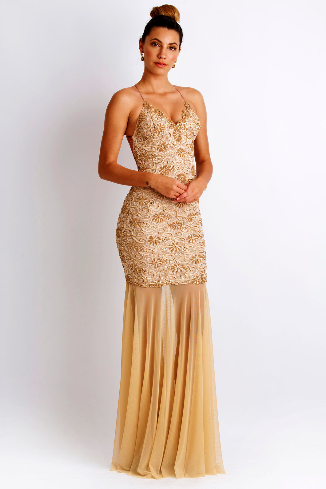 Emily Painted Caviar Champagne Gowns - Long Party Dress - BACCIO Couture