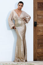 Load image into Gallery viewer, Estela Sequins Silk Long Dress Champagne - BACCIO Couture