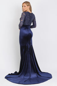 Frida Caviar Blue Velvet Gowns - Long Dress - BACCIO Couture
