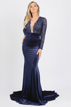 Load image into Gallery viewer, Frida Caviar Blue Velvet Gowns - Long Dress - BACCIO Couture