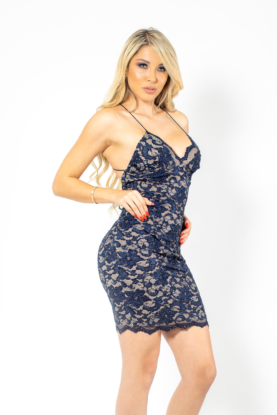 Naylet Full Crystal Navy Blue Cocktail Dress - BACCIO Couture