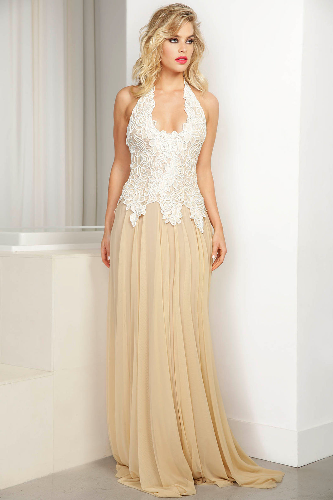 Iris Hand-painted White Cream Caviar Long Dress - BACCIO Couture