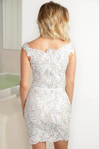 Vivi White Silver Caviar Short Dress - Cocktail Dress - BACCIO Couture