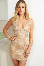 Load image into Gallery viewer, Cindy Caviar Champagne Cocktail Dress - Short Dress - BACCIO Couture