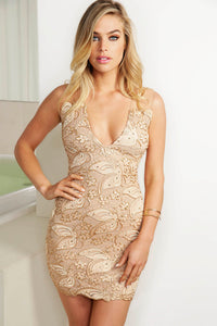 Champagne handpainted caviar cocktail dress. Stretch mesh crepe spandex dresses near miami. Cocktail dresses for sale. Handmade shape short dresses for party. Cocktail dresses for woman. Latest Miami fashion short dress for sale