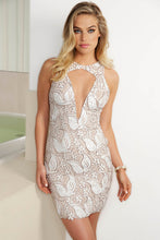 Load image into Gallery viewer, Lula White Platinum Caviar Cocktail Dress - Short Dress - BACCIO Couture